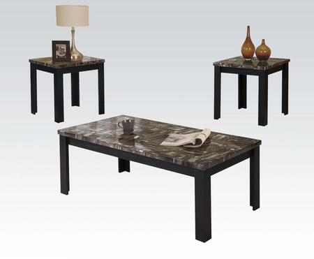 Carly Collection 81404 3 PC Living Room Table Set with Coffee Table  2 End Tables  Black Faux Marble Top