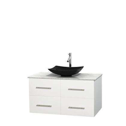 Wcvw00942swhcmgs4mxx 42 In. Single Bathroom Vanity In White  White Carrera Marble Countertop  Arista Black Granite Sink  And No