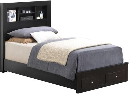 G2450D-TSB2 Twin Storage Bed with 2 Dovetailed Drawers  Storage Headboard and Wood Veneer Construction in