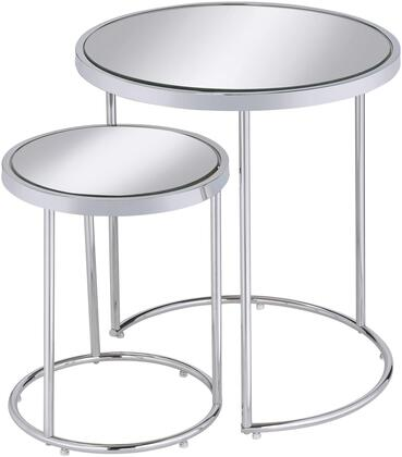 Home Accents Collection 902962 Nesting Tables with Mirrored Tops  Round Shape and Metal Construction in Chrome