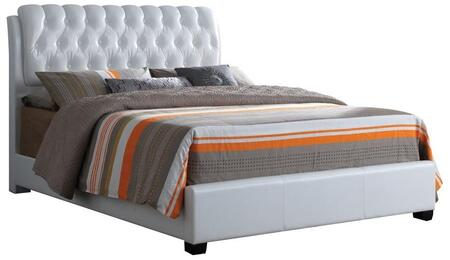 Ireland Collection 25347EK King Size Bed with Button Tufted Headboard  Low Profile Footboard  Supported Slats and Bycast PU Leather Upholstery in White