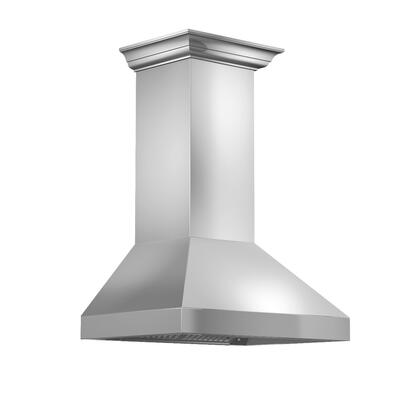 597CRN48 48 inch  Wall Mount Range Hood with 900 CFM  in Stainless Steel with Crown