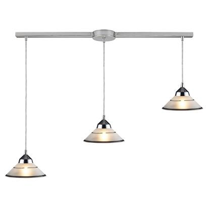 1477/3L 3 Light Pendant in Polished Chrome and Etched Clear
