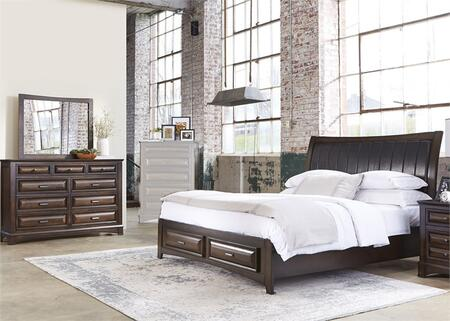 Knollwood Collection 258-BR-KSBDM 3-Piece Bedroom Set with King Storage Bed  Dresser and Mirror in Dark Cognac