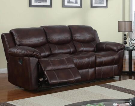 U2128-S Reclining Sofa  Microfiber Upholstery with Stitching Accents  Plush Seats/Back/Arms  in