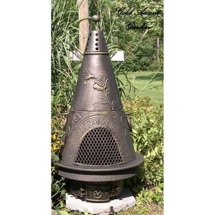 ALCH009GAGKLP Garden Chiminea Outdoor Fireplace With Gas  Cast Iron Bottom Grate  Carry Handles  Removable Top  Non-Rusting Cast Aluminum Body & Gold Accent -
