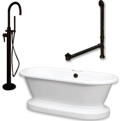 ADEP-150-PKG-ORB-NH Acrylic Double Ended Pedestal Bathtub 70 inch  x 30 inch  with no Faucet Drillings and Complete Oil Rubbed Bronze Plumbing