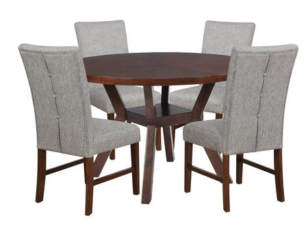 Hiatt Collection D1082D17 5-Piece Dining Set with Round Dining Table and 4 Side Chairs in Espresso
