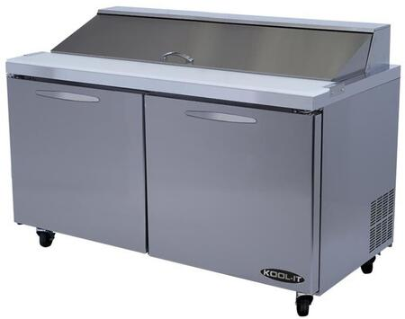 KSTM60 60 inch  Sandwich Prep Tables Mega Tops with 16 cu. ft. Capacity  2 Doors  2 Shelves  24 Pans  3/8 HP  in Stainless