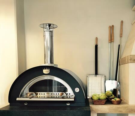 FAMILY6060 32 inch  Pulcinella Series Direct Wood Burning Oven with 2 Pizzas Capacity  2 Minute Quick Cooking Time  Stainless Steel Construction  and Ceramic Fiber