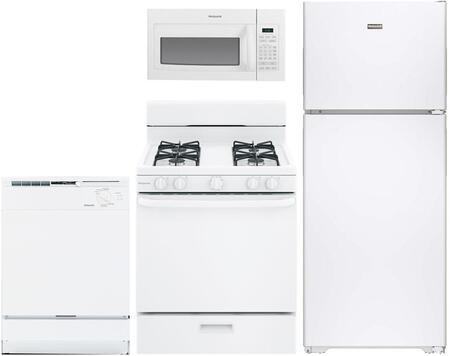 4-Piece White Kitchen Package with HPS15BTHLWW 28 inch  Top Freezer Refrigerator  RGB518PCHWH 30 inch  Freestanding Gas Range  RVM5160DHWW 30 inch  Over the Range Microwave