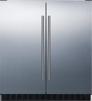 Summit FFRF3075WSS 30 Side-by-Side Compact Refrigerator and Freezer with 5.4 cu. ft. Capacity LED Lighting Frost Free Operation High Temperature and Open Door Alarm in Stainless Steel a