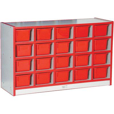N60102RD 20-Tray Cubbie Unit with Trays Gray Nebula Finish  Edge Color - Red  Tray Color -