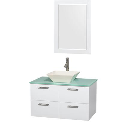 Wcr410036sgwggd2bm24 36 In. Single Bathroom Vanity In Glossy White  Green Glass Countertop  Pyra Bone Porcelain Sink  And 24 In.
