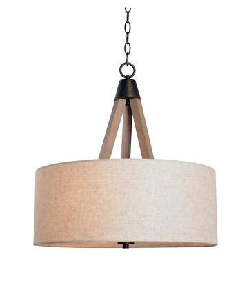 Peak 93943LWD 3-Light Drum Pendant Ceiling Light with 3- Medium Base Sockets  60 Watt Maximum Each  20