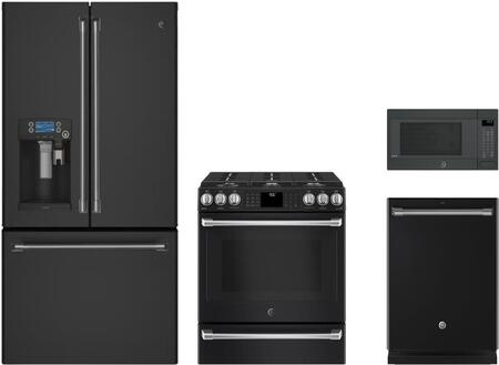 4-Piece Kitchen Package with CYE22UELDS 36 inch  French Door Refrigerator  CGS986EELDS 30 inch  Slide-in Gas Range  CEB1599ELDS 22 inch  Countertop Microwave  and CDT835SMJDS