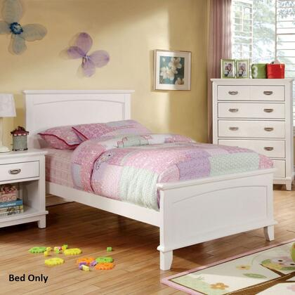 Colin Collection CM7909WH-T-BED Twin Size Bed with Slat Kit Included  Solid Wood and Wood Veneers Construction in White
