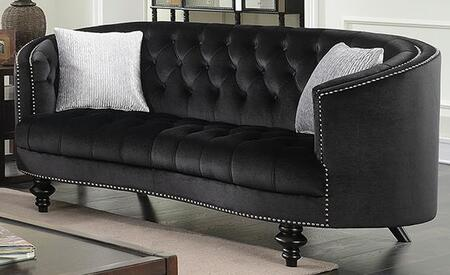 Manuela CM6145BK-LV Loveseat with Turned Legs  Nail Head Accents and Flannelette Fabric Upholstery in