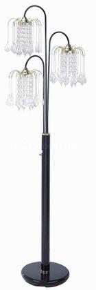 03725BK Chandelier Floor Lamp  Black Metal and Crystalline