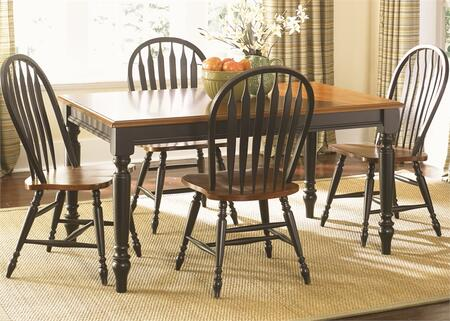 Low Country Collection 80-CD-5RLS 5-Piece Dining Room Set with Rectangular Table and 4 Windsor Back Side Chairs in Anchor Black Finish with Suntan