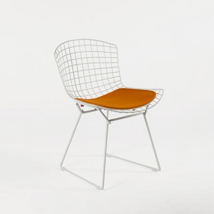Nortalie FEC7717DORG Dining Chair with Stainless Steel Legs  Curved Steel Grid Frame and Fabric Upholstery in