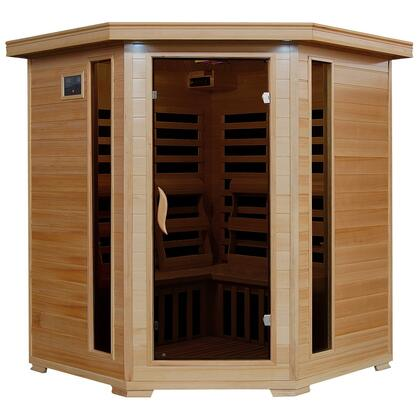 SA2420DX Tuscon Monticello 4 Person Infrared Sauna with 10 Carbon Heaters  E-Z Touch Control Panel  Oxygen Ionizer  CHROMOTHERAPY System  Recessed Interior