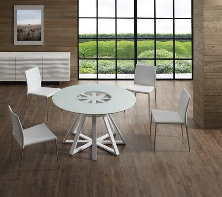 Star Collection CB3476ASET 5 PC Dining Room Set with Clear Glass Top Dining Table and 4 White Eco-Leather Upholstered