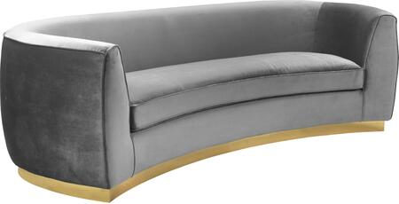 Julian 620Grey-S Sofa with Velvet Upholstery  Gold Stainless Steel Base and Curved Back Design in