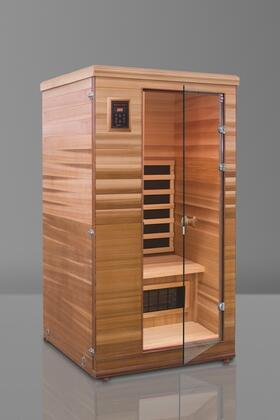 Renew I HM-BSE-1-BT-CL Infrared Sauna with Flat Bench  Trulnfra Heater  Tecoloy M Heater  Floor Heater and Sound System in Cedar