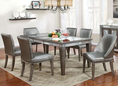 Sturgis Collection CM3352T4SC2WC 7-Piece Dining Room Set with Rectangular Table  4 Side Chairs and 2 Wing Chairs in Dark