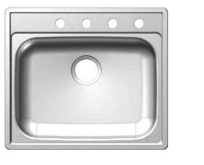 SS653NB 25 inch  Single Bowl Drop-In Kitchen Sink  22 Gauge Stainless Steel  Sheen Deck  Sheen Bowl  3 Faucet Holes