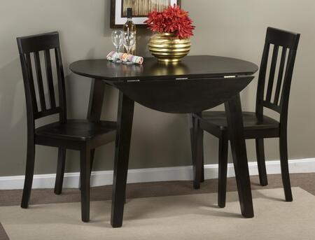 Simplicity Collection 552283SET 3 PC Dining Room Set with Round Extendable Dining Table + 2 Slat Back Chairs in Espresso