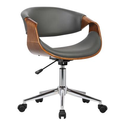 Geneva Collection LCGEOFCHGREY Mid-Century Office Chair in Chrome finish with Gray Faux Leather and Walnut Veneer