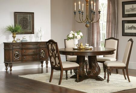 Ilana Collection 122250-S6 6-Piece Dining Room Set with Round Dining Table  4 Side Chairs and Server in Antique