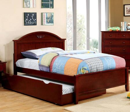 Medina Collection CM7942CH-F-BED+TR Full Size Panel Bed with Trundle  Camel-Shaped Headboard  Low Profile Footboard  Tapered Legs and Solid Wood Construction