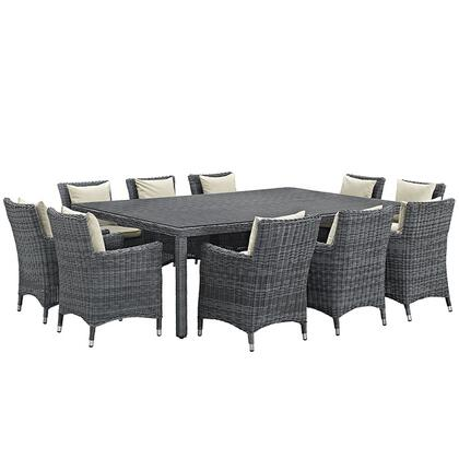 Summon Collection EEI-2333-GRY-BEI-SET 11-Piece Outdoor Patio Sunbrella Dining Set with Dining Table and 10 Armchairs in Antique Canvas