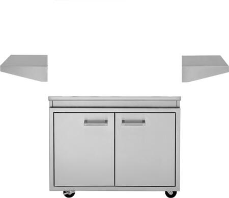 DHGB38-C 38 inch  Grill Base with 4 Heavy Duty Casters  2 Stationary Side Shelves  Front Access Doors  in Stainless