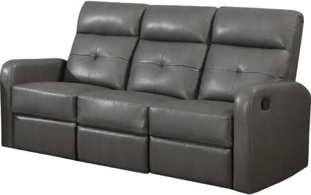 I 85gy-3 72 Reclining Sofa With Lumbar Support  Comfortably Padded And Bonded Leather In Charcoal