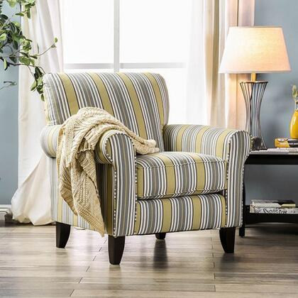 Wilkie SM8311-CH-ST Striped Accent Chair with Solid Wood Tapered Legs  Piped Stitching and Fabric Upholstery in Light