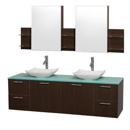 Wcr410072desgggs6med 72 In. Double Bathroom Vanity In Espresso  Green Glass Countertop  Arista White Carrera Marble Sinks  And Medicine