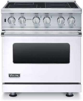 """Professional 5 Series VISC5304BWH 30"""" Electric Induction Range with MagneQuick Induction Elements Vari-Speed Dual Flow Convection Gourmet-Glo Infrared"""