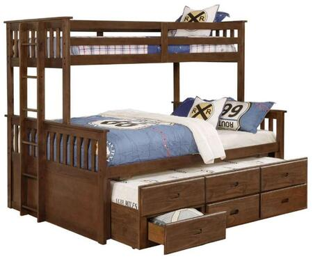 Atkin Collection 461147 Twin XL Over Queen Size Bunk Bed with Full Length Guardrails  Slatted Panels and Sturdy Wood Construction in Weathered