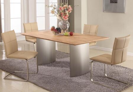 JESSICA-5 PCS JESSICA DINING 5 Piece Set - Matt Light Oak  Dining Table with 4 Khaki Cantilever Upholstered Side