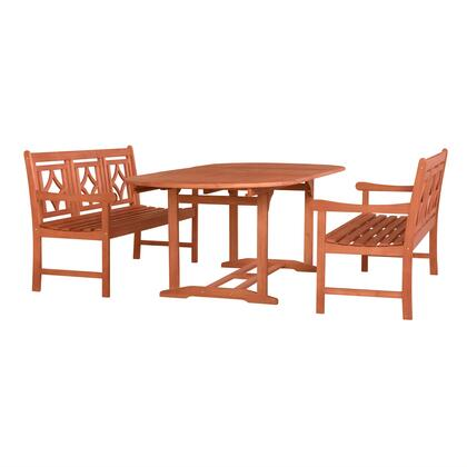 Malibu Collection V144SET44 3 PC Outdoor Patio Dining Set with 2 Benches  Rectangular Shaped Table  Umbrella Hole  Rustic Style and Eucalyptus Solid Wood