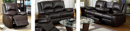 Oxford Collection CM6555SLR-BTD 3-Piece Living Room Set with Motion Sofa  Motion Loveseat and Recliner in Rustic Dark