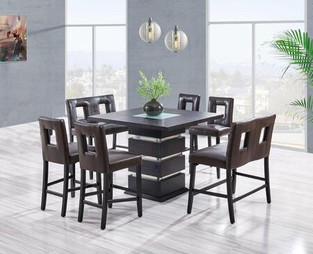 DG072BTDG0724BS2BNBR 7-Piece Bar Set with Bar Table  4 Bar Stools and 2 Bar Benches in Wenge and