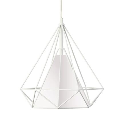 246-141P-WH 1 Light Metal Framed Pendant With White Shade  White