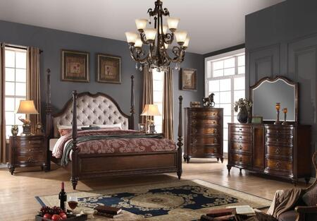 Azis Collection 23764CKSET 6 PC Bedroom Set with California King Size Poster Bed + Dresser + Mirror + Chest + 2 Nightstands in Dark Walnut