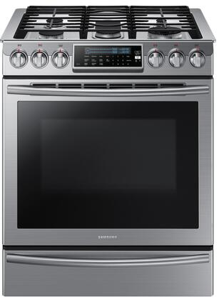 "NX58H9500WS 30"" Slide-In Gas Range with 5.8 cu. ft. Capacity  5 Sealed Burners  Center Oval Burner  True Convection  Temperature Probe  Warming Drawer  Sabbath"