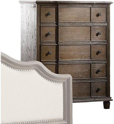 Baudouin Collection 26116 40 inch  Chest with 5 Drawers  Metal Hardware  Felt Lined Top Drawers  Acacia Wood and Oak Veneer Materials in Dark Walnut